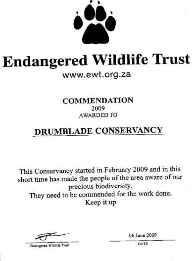 Drumblade Conservancy Commendation